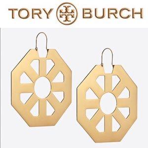 Tory Burch Gold Geo Hoop Earrings